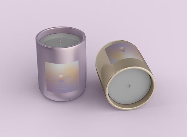 Mockup met twee kaarsen