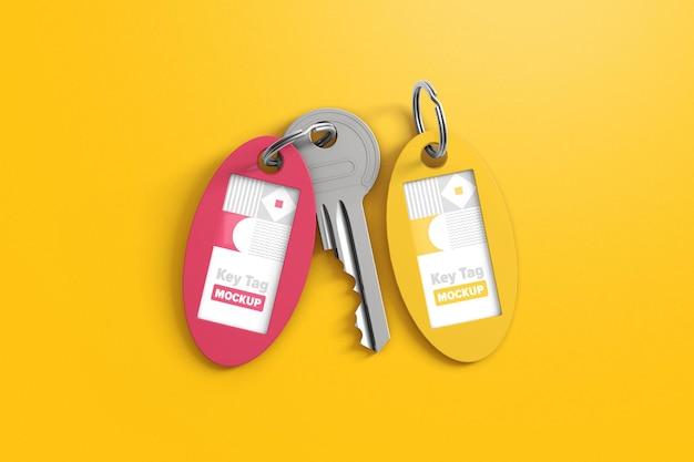 Mockup met twee ovale sleutelhangers