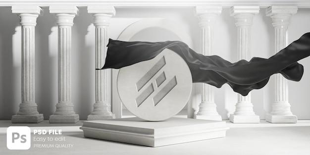 Mockup met uitgesneden logo onthult zwarte stoffen omslag van ronde stenen klassieke kolommenpijlers