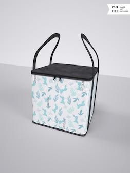 Mockup met vierkante stoffen tas met logo