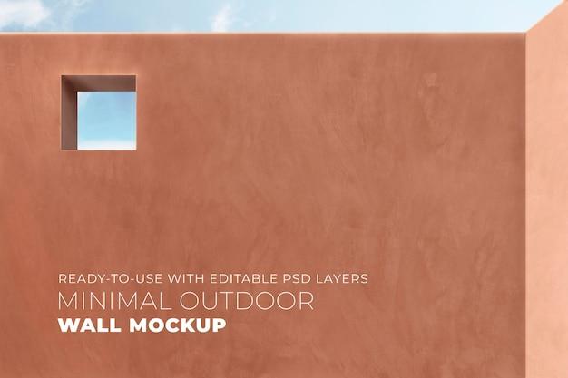 Mockup minimalista de pared exterior psd en terracota estilo mediterráneo