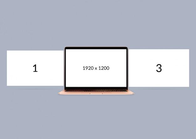 Mockup minimo di laptop con visualizzazione a triplo schermo