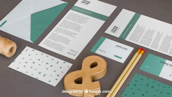 Mockup moderno de papelería