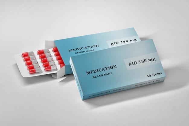 Mockup modificabile di cancelleria psd con scatole di medicinali e pillole