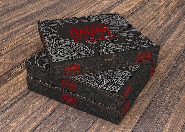 Mockup de montón de cajas de pizza