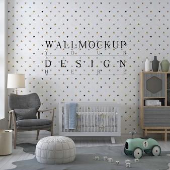 Mockup muro nella moderna stanza della scuola materna