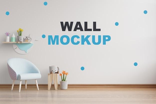 Mockup muro nella stanza dei bambini rendering 3d