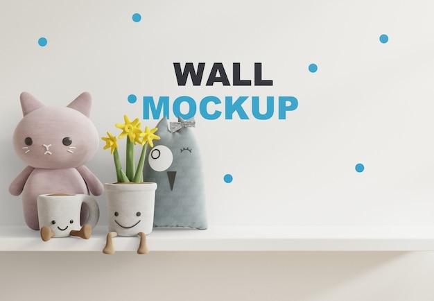 Mockup muro nella stanza dei bambini sulla mensola bianca rendering 3d