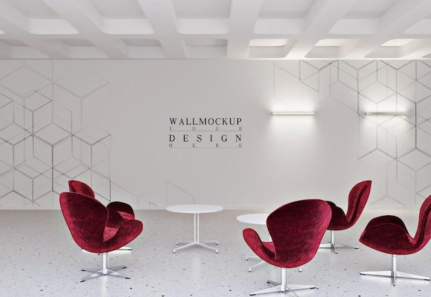 Mockup muur in modern en eenvoudig kantoor met fauteuil en tafel