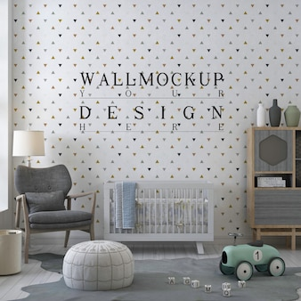 Mockup muur in moderne kinderkamer