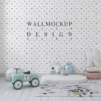 Mockup muur in schattige kinderkamer in pasteltinten