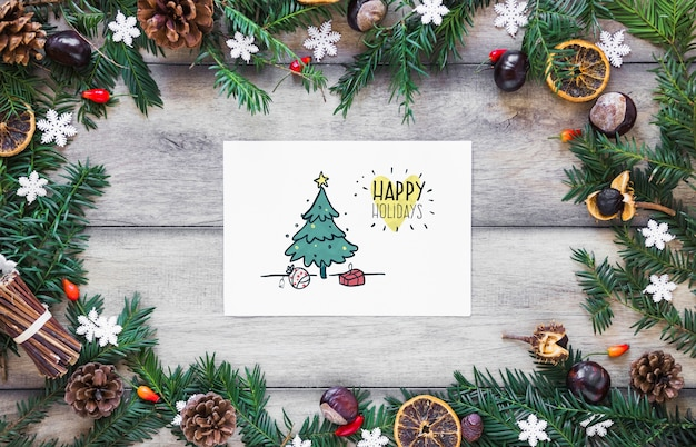 Mockup de navidad con cover o carta