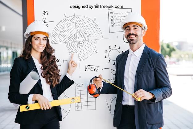 Mockup de negocios con arquitectos