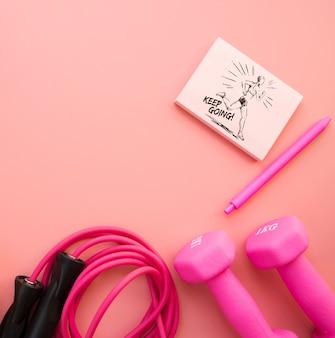 Mockup de notas con concepto de fitness