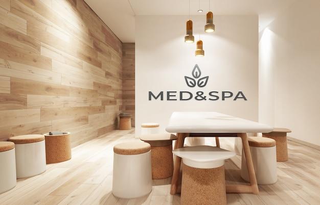 Mockup of dark 3d office wooden logo in cosy business indoor workspace