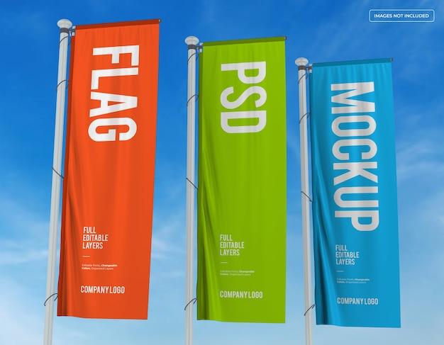 Mockup-ontwerp met drie verticale vlaggen