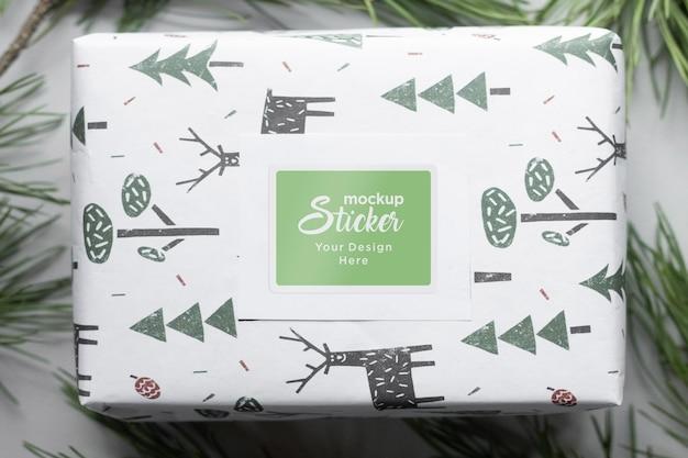 Mockup-ontwerp van de sticker van de verpakking