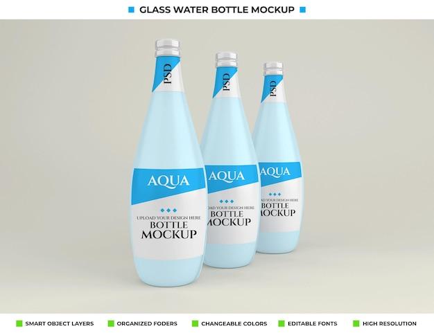 Mockup-ontwerp van glazen mineraalwaterfles