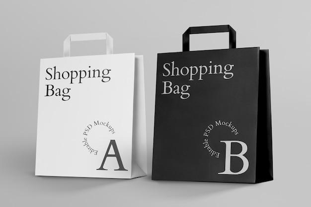 Mockup-ontwerp van papieren boodschappentassen