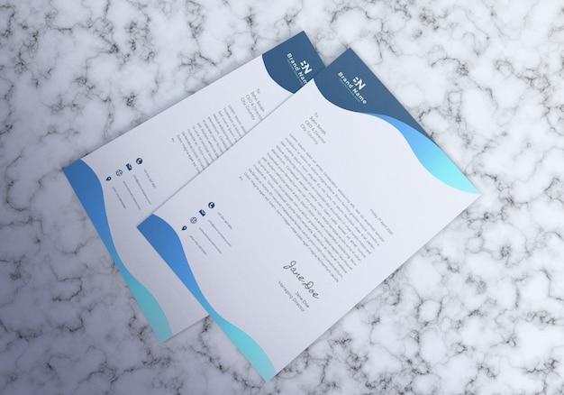 Mockup ontwerp van realistisch briefhoofd