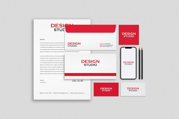 Mockup-ontwerp voor briefpapier en branding