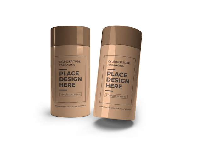 Mockup-ontwerp voor cilinderbuisverpakkingen