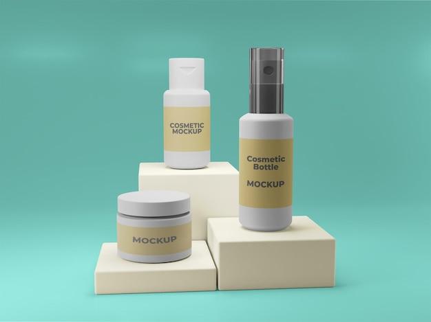 Mockup-ontwerp voor cosmetische flessen in psd