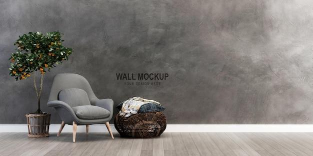 Mockup-ontwerp voor de muur in 3d-rendering
