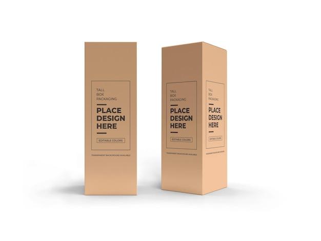 Mockup-ontwerp voor hoge doosverpakkingen