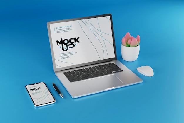 Mockup-ontwerp voor laptop en smartphone
