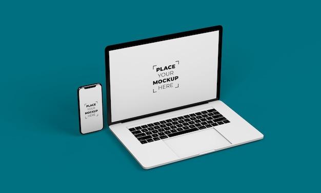 Mockup-ontwerp voor smartphone en laptop op volledig scherm