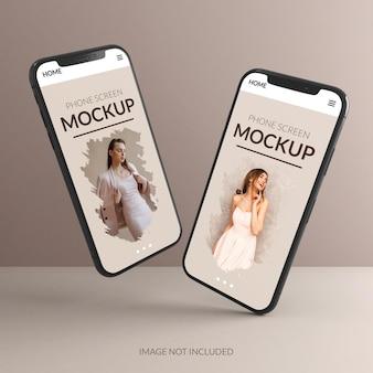 Mockup-ontwerp voor telefoonscherm in 3d-rendering