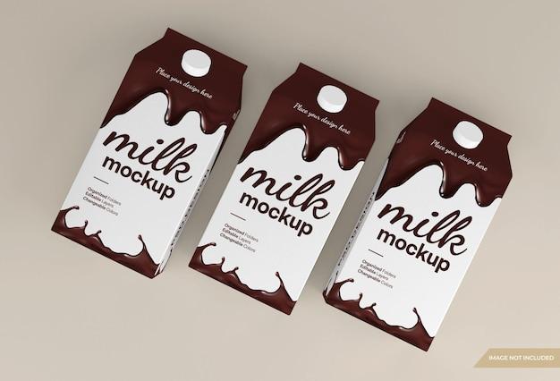 Mockup-ontwerp voor verpakking van chocolademelk