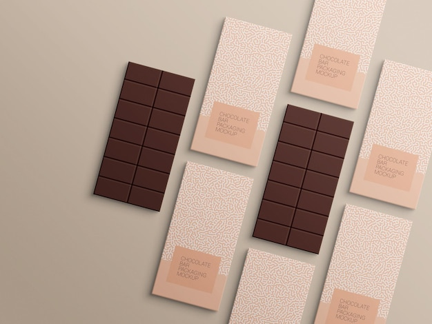 Mockup-ontwerp voor verpakking van chocoladereep inpakpapier