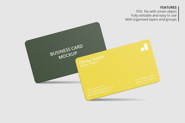 Mockup-ontwerp voor visitekaartjes met afgeronde hoeken