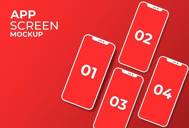 Mockup-ontwerpen voor telefoonapp-schermen