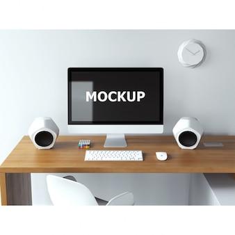 Mockup de ordenador sobre escritorio