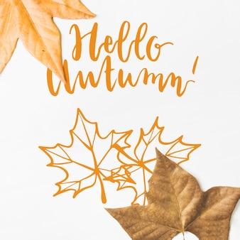 Mockup de otoño con hojas