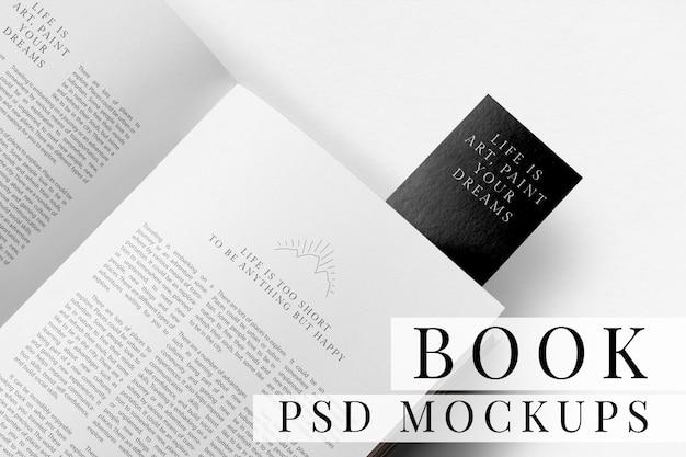 Mockup de páginas de libro mínimo psd con marcador