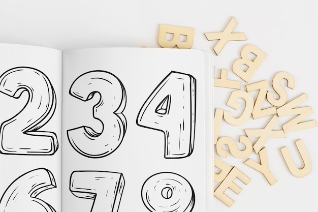 Mockup de papel con alfabeto