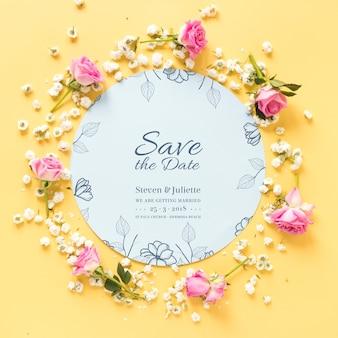 Mockup de papel circular con concepto de boda