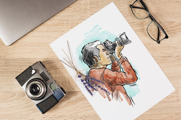 Mockup de papel con concepto de fotografía