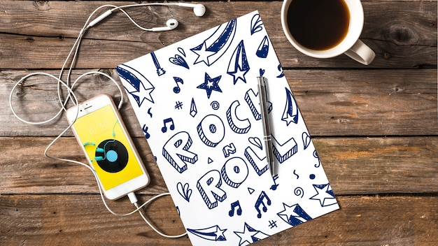 Mockup de papel con concepto de música