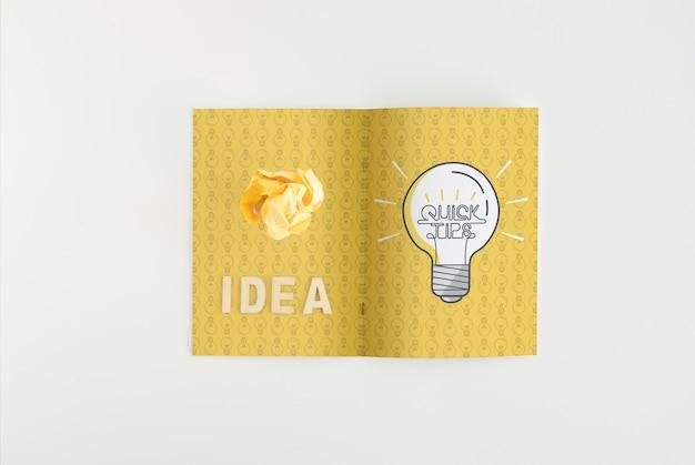 Mockup de papel doblado con concepto de consejos