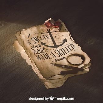 Mockup de papel viejo con concepto de navegación y aventura