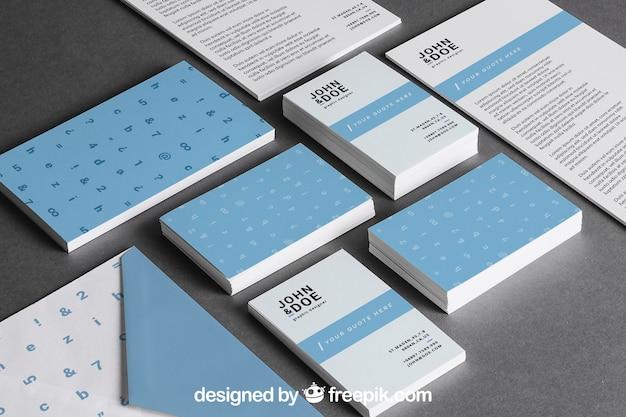 Mockup de papelería azul