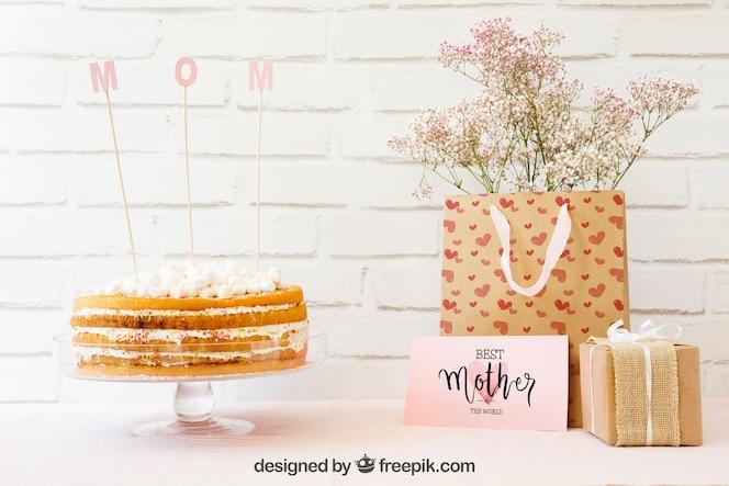 Mockup para el día de la madre con tarta