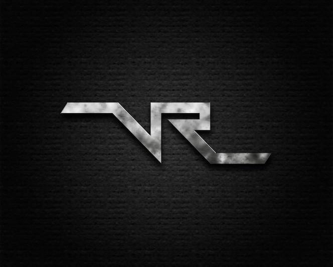 Mockup para logo moderno sobre textura negra