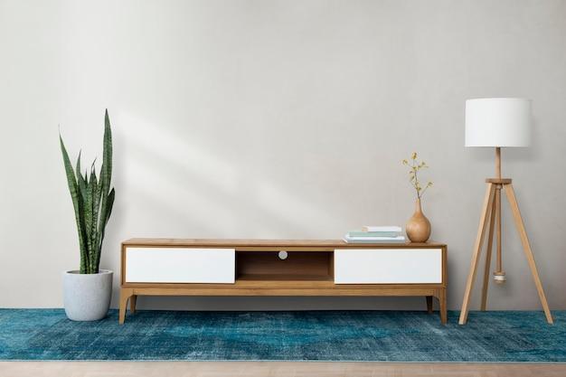 Mockup de pared psd en una sala de estar moderna