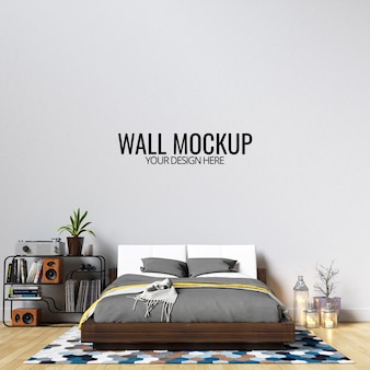 Mockup parete interna camera da letto